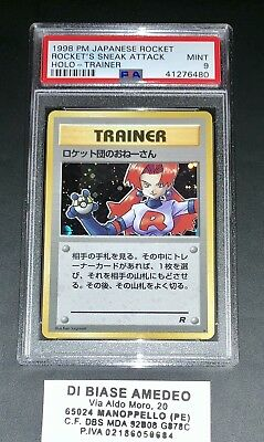 💎psa9 Mint Trainer Rocket'S Sneak Attack Holo Team Rocket Japanese 1998!⭐️