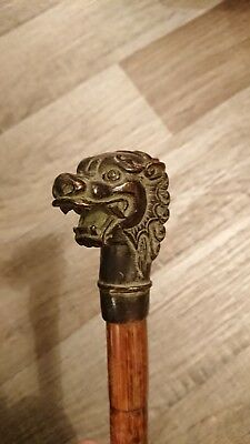 "Brass Dragon Handle Walking Stick Wooden Vintage Approximately 31"" Long"