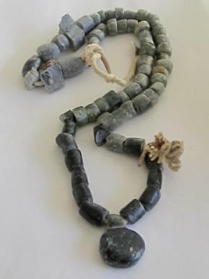 Ancient  Antique Old Gray / Black Carved Stone African Trade Beads / Necklace