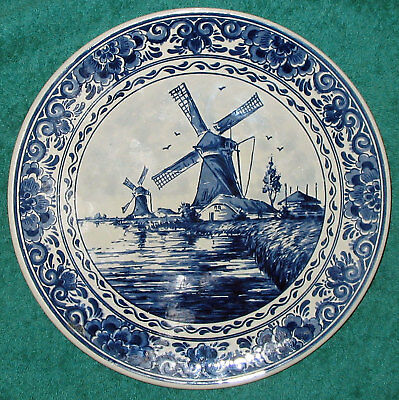 """Vintage Delft Blauw Handpainted Made in Holland 10"""" Wall Plate Signed"""