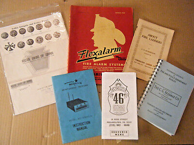 Lot Books Firefighting Gamewell Fire Alarm Uniform Ladder Badge Catalogs Vintage