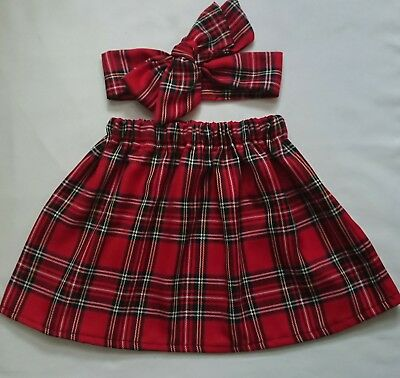 Baby's Skirt and Headwrap Tartan print New
