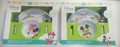Disney Baby Minnie or Mickey Mealtime 4pc Dinnerware Plate, Bowl, Spoon Fork Set