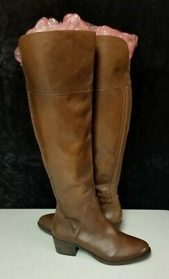 02fae679a34a  198 Vince Camuto Bendra Brown Leather Over The Knee Boots Wmn 8.5 M WIDE  CALF