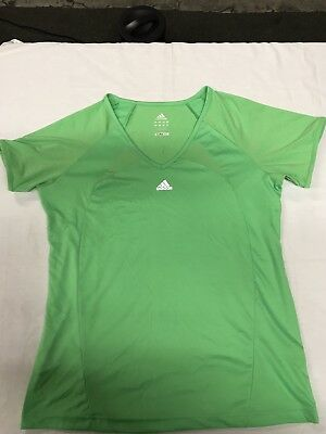 ADIDAS Clima365 Top Shirt T-Shirt Green Short Sleeve V-neck Womens Size  Large bcc5316d8
