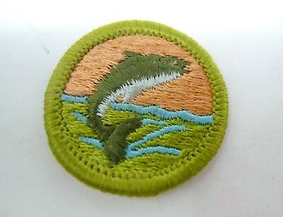 "Vintage 1970s Boy Scouts BSA Patch BASS Fish 1.5"" Green"