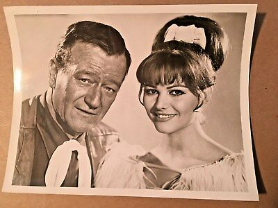 "Vintage John Wayne and Claudia Cardinale ""Circus World"" 7x9 Promo Photo Blk/Whte"