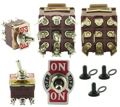 Toggle Switches 2 or 3 Pos. 1-4 Pole 10-32 Amp Spade Screw Maintained Momentary