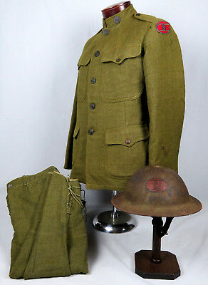 "WWI US 30th ""OLD HICKORY"" DIVISION UNIFORM & COMPLETE INSIGNIA PAINTED HELMET"