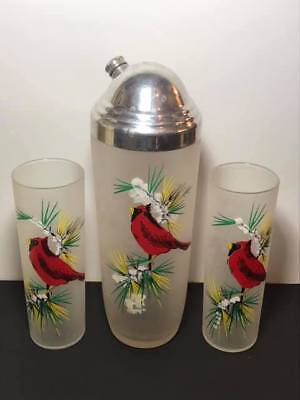 Bartlett Collins Cardinal Cocktail Shaker and Glasses