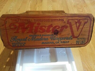 "Vintage Wooden Wood Crate Royal Madera Vineyards CA ""Mister V Table Grapes"" Wine"