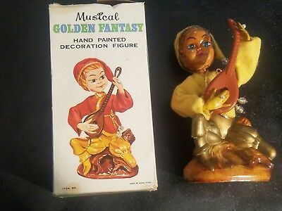 Vintage Pixie / Elf Fantasy Piece Golden Musical Toy / Doll Figure IN BOX