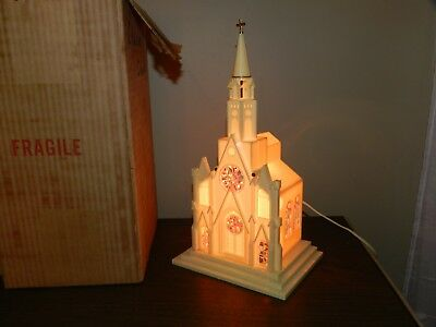 Vtg Lighted Raylight Christmas Decoration Church Stained Glass Windows Musical
