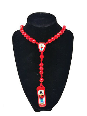 Made in Mexico Red Santa Muerte Rosario Holy Death Rosary Grim Reaper Jewelry