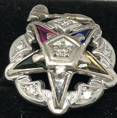 Vintage 10 KT Diamond White Gold Eastern Star FeaturingMasonic Gavel Ring Size 5