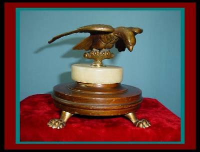 CIVIL WAR / Roman Style French MILITARY Bronze EAGLE FLAG FINIAL with Brass Feet