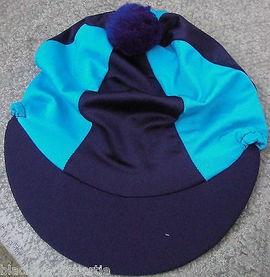Riding Hat Silk Skull cap Cover NAVY BLUE & TURQUOISE With OR w/o Pompom