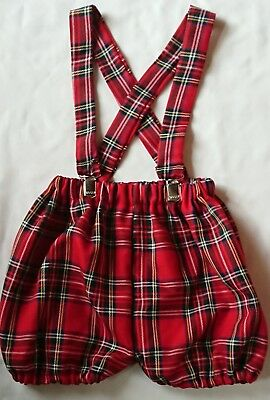 Boys Red Tartan Print Baby's Bloomer with braces Boys Christmas clothes New