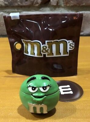 Green M&m Monet Jewelry Trinket Box Big Face Enameled New $25