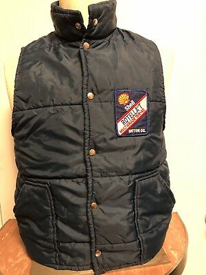 Vintage Work Wear Shell Gas Station Mechanic Puffer Vest Jacket Medium