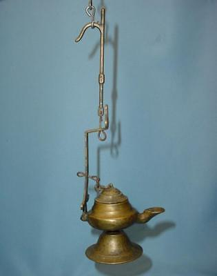 VERY NICE Antique MIDDLE EASTERN Bronze FOOTED HANGING OIL LAMP with LID
