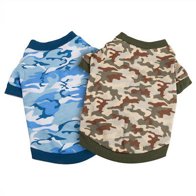 2x Small Pet Clothes Dog Cat Cotton Cute Camo Camouflage Print Shirt T-shirt