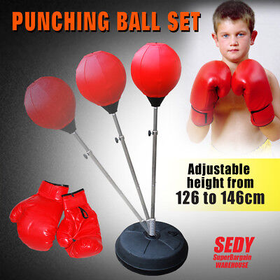 Punch Speed Ball Gloves Set Free Standing Punching Boxing Bag Home GYM Training
