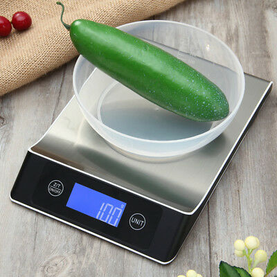 Kitchen Food Weighing Scale LCD Digital Back-lit Stainless Multifunction 15kg/1g