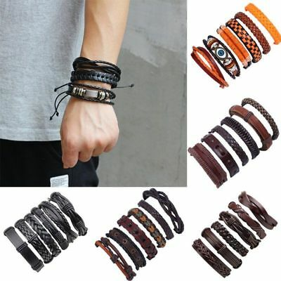 6PCS Mens Punk Leather Wrap Braided Adjustable Wristband Cuff Bracelet Bangle