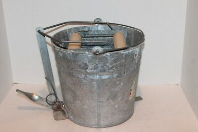 Vintage MOP WRINGER GALVANIZED BUCKET with Foot Pedal
