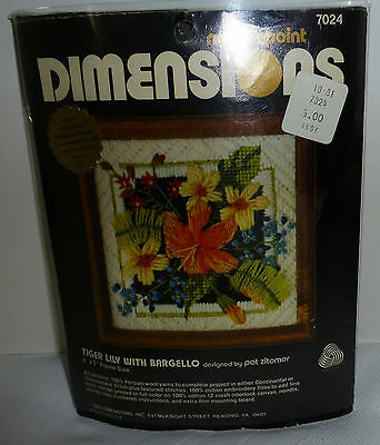 Dimensions Needlepoint 7024 Tiger Lily with Bargello by Pat Zitomer 5 x 5 1980