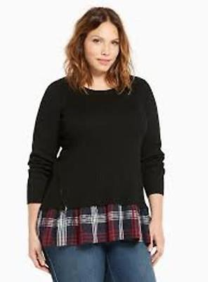 e19422f82 NEW Plus Size TORRID Ribbed Knit Plaid TWOFER SWEATER Top 10687858 SIZE 5  4X 5X