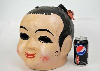 Antique Early 1900's Handmade Paper Mache Mardi Gras Carnival Circus Parade Mask