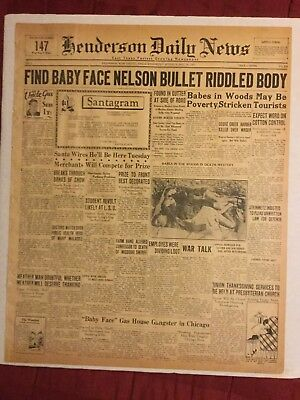 BABY FACE NELSON KILLED - 1934 Henderson, Texas Newspaper