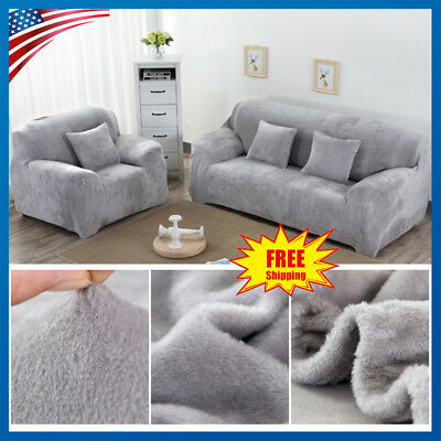 Velvet Stretch Chair Sofa Love Seat Covers 1 2 3 Seater Couch Cover Slipcover