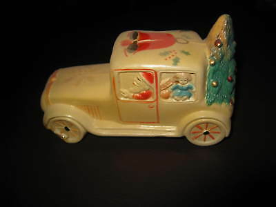 Antique Vtg Celluloid Santa Driving Car Christmas Tree in Rumble Seat Rattle