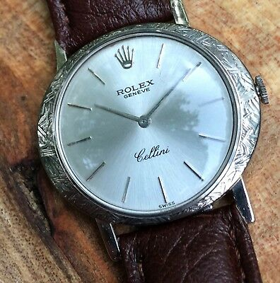 """Mens Vintage Rolex Cellini Solid 18k White Gold Watch, """"SWISS"""" Only Dial 35mm"""