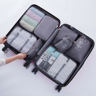 8pcs Travel Storage Bags Set Luggage Suitcase Organiser Clothes Packing Pouch