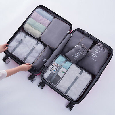 8pcs Travel Storage Bags Set Luggage Suitcase Organizer Shoes Laundry Pouch