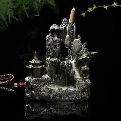 Ceramic Mountain Waterfall Smoke Backflow Incense Burner Holder With 7 Cones AU