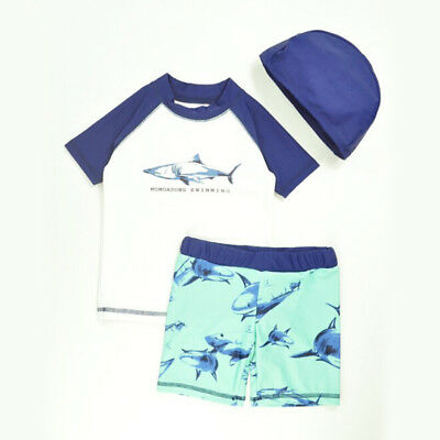3PCS Toddler Baby Kids Boy Sun Protection Cartoon Shark Swimsuit Swimwear+Cap AU