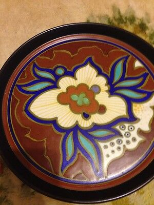 """Large Early Holland Art Deco GOUDA -Aurora decor TRAY- Excellent condition 10"""""""