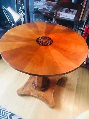 Stunning Rare Antique Biedermeier Sunburst Pedestal Table