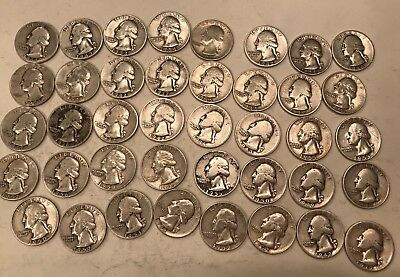 One Roll Of Mixed Dates 90% Silver Washington Quarters - 40 Coins