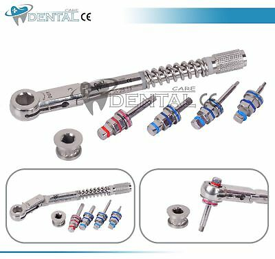 Dental Implant Torque Wrench Ratchet 10-40 Ncm 6.35mm Hex 4.0mm+4 Pcs Hex Driver