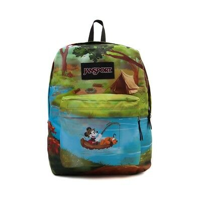 New NWT Jansport Disney High Stakes Camp Mickey fishing Backpack 25 L Blue Green