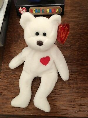 847ee999792 TY Original Beanie Baby Valentino White Bear with Red Heart and Brown Nose