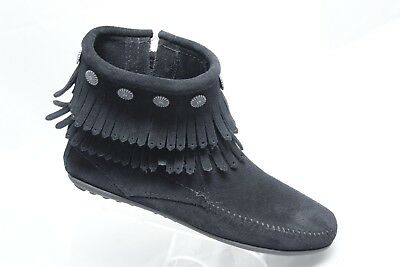 Minnetonka Womens Size 7 Black Suede Double Fringe Studs Zip Ankle Boots Booties
