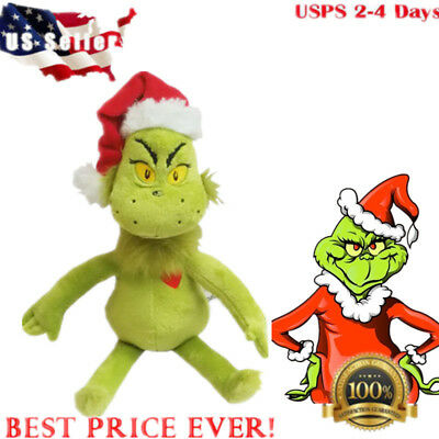 """US! Dr Seuss How the Grinch Stole Christmas with Santa Hat Plush 15"""" Toys Gift"""