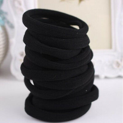 10pcs Elastic Black Seamless Hair Ties Band Rope Ponytail Hair Accessories